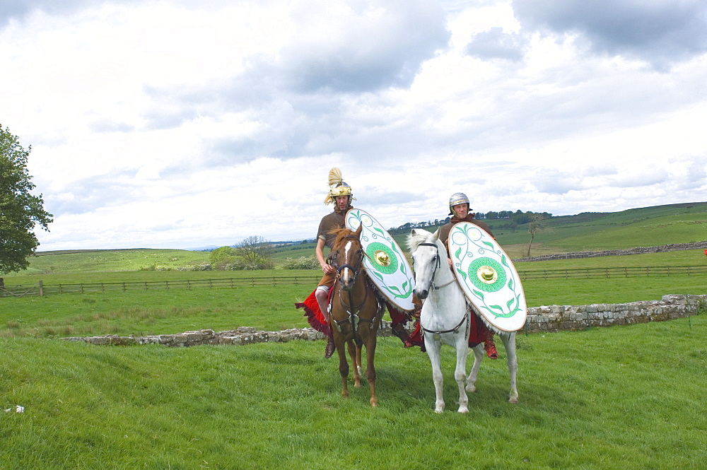Roman Cavalry of the Ermine Street Guard, Birdoswald Roman Fort, Hadrians Wall, Northumbria, England, United Kingdom, Europe