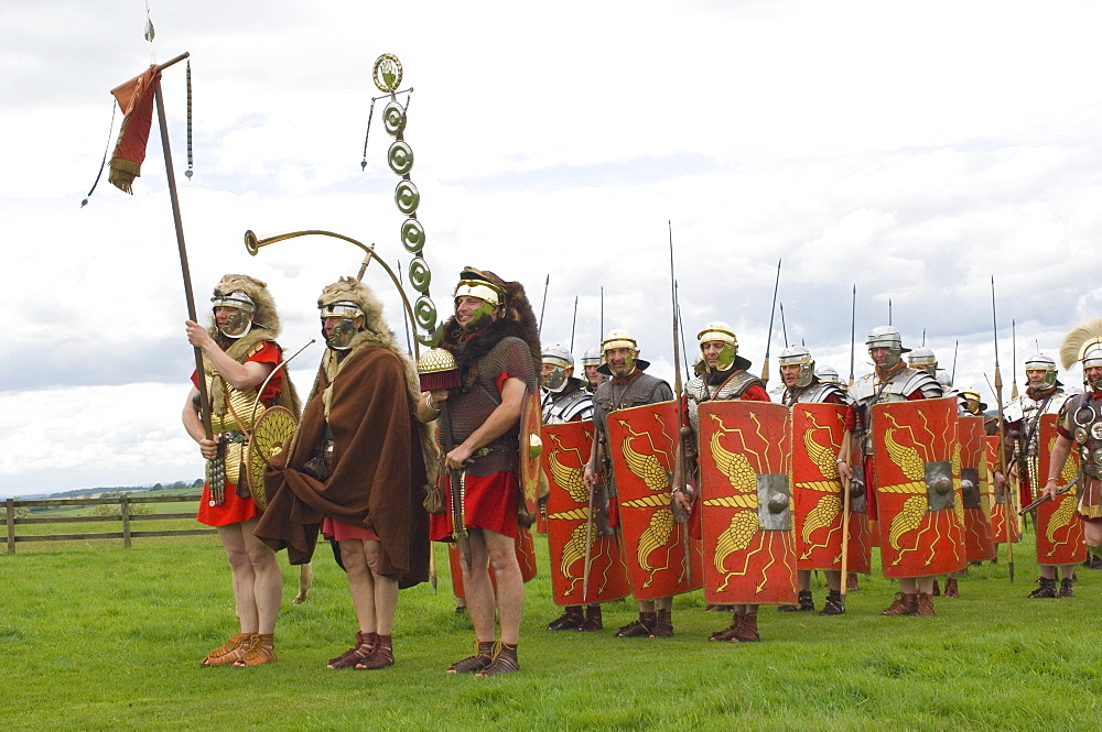 Ermine Street Guard preparing to advance, Birdoswald, Hadrians Wall, Northumbria, England, United Kingdom, Euruope