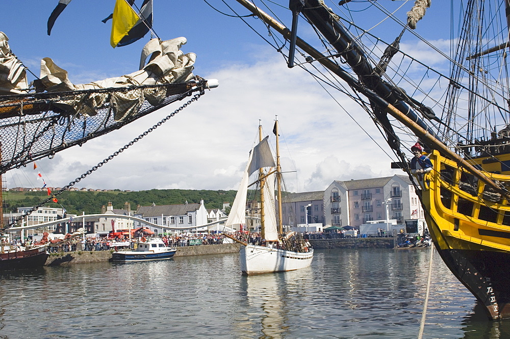 Tall ship activity in inner harbour, Whitehaven. Cumbria, England, United Kingdom, Europe