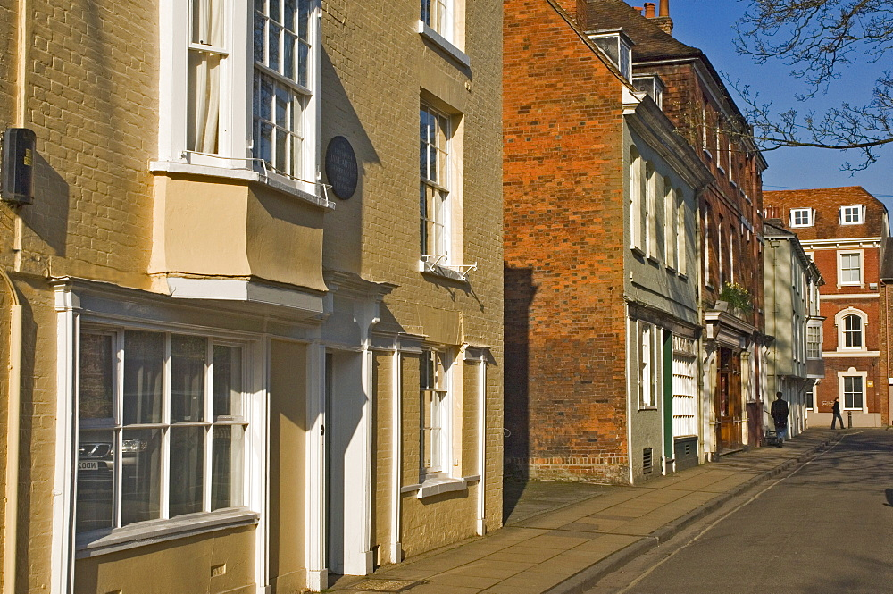 College Street with Jane Austen's final home on the left foreground, Winchester, Hampshire, England, United Kingdom, Europe