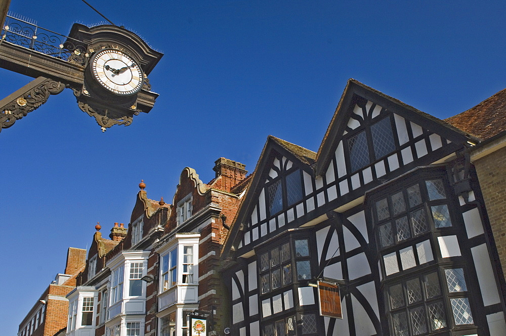 The Bracket Clock and timbered gables, High Street, Winchester, Hampshire, England, United Kingdom, Europe