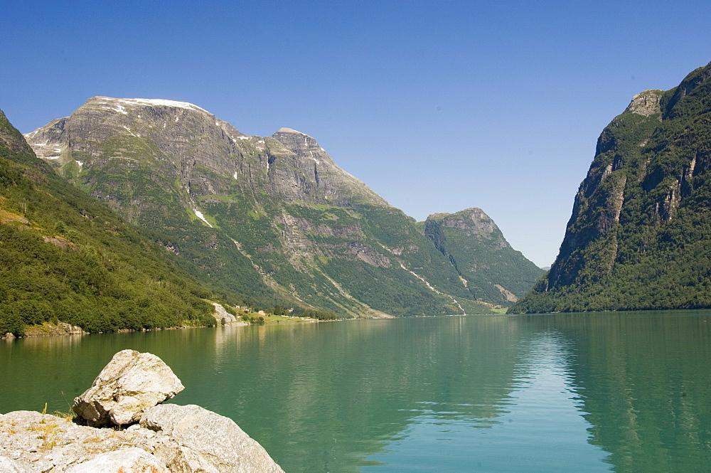 The green glacier lake above Olden, Fjordland, Norway, Scandinavia, Europe