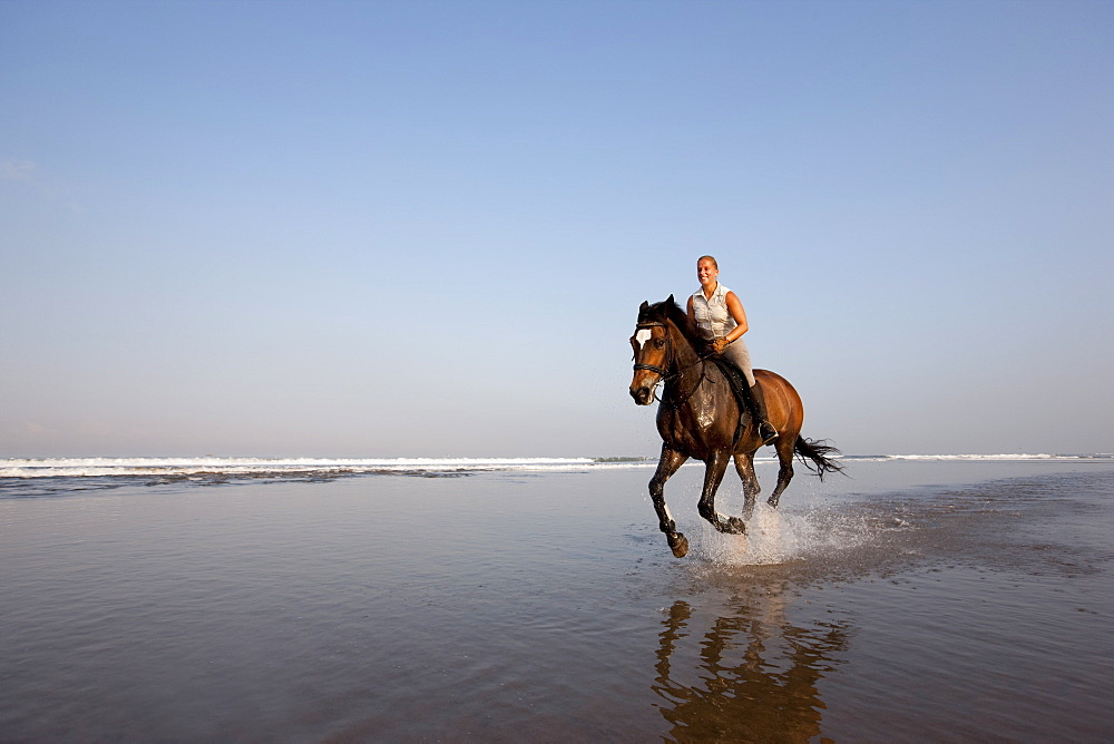 Horse riding at the beach, Kuta Beach, Bali, Indonesia, Southeast Asia, Asia