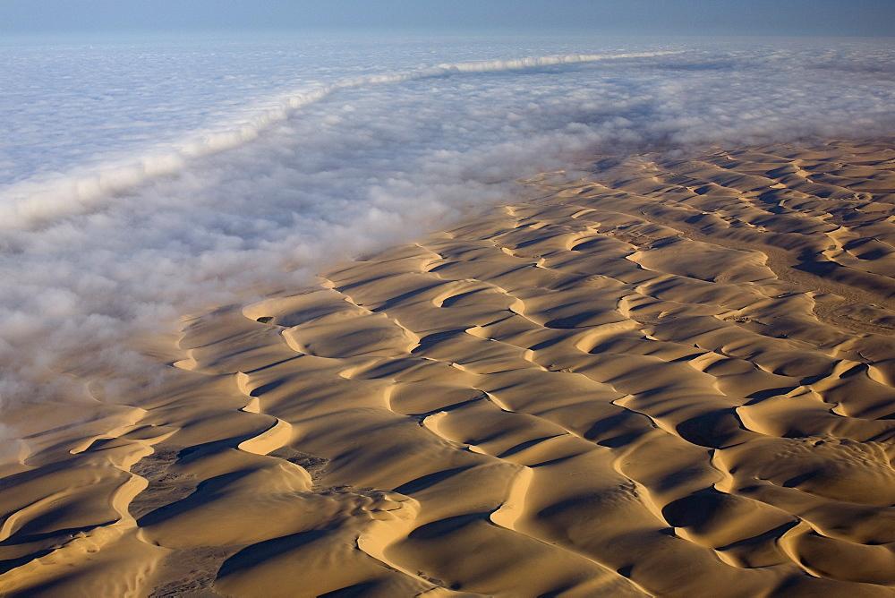 Aerial of sand dunes, Skeleton Coast Park, Namib Desert, Namibia, Africa - 748-844