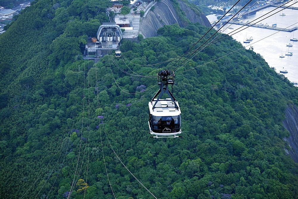 Cable cars at the Pao de Acucar (Sugar Loaf mountain), Rio de Janeiro, Brazil, South America