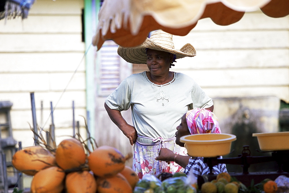 Vendor at local vegetable market, Fort de France, Martinique, Lesser Antilles, West Indies, Caribbean, Central America