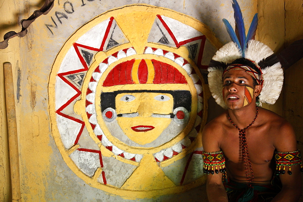 The old Shaman house of the Pataxo Indian people at the Reserva Indigena da Jaqueira near Porto Seguro, Bahia, Brazil, South America