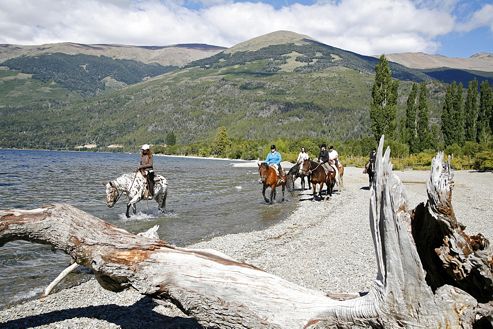 Horseback riding by Guttierez Lake in Estancia Peuma Hue, Patagonia, Argentina, South America