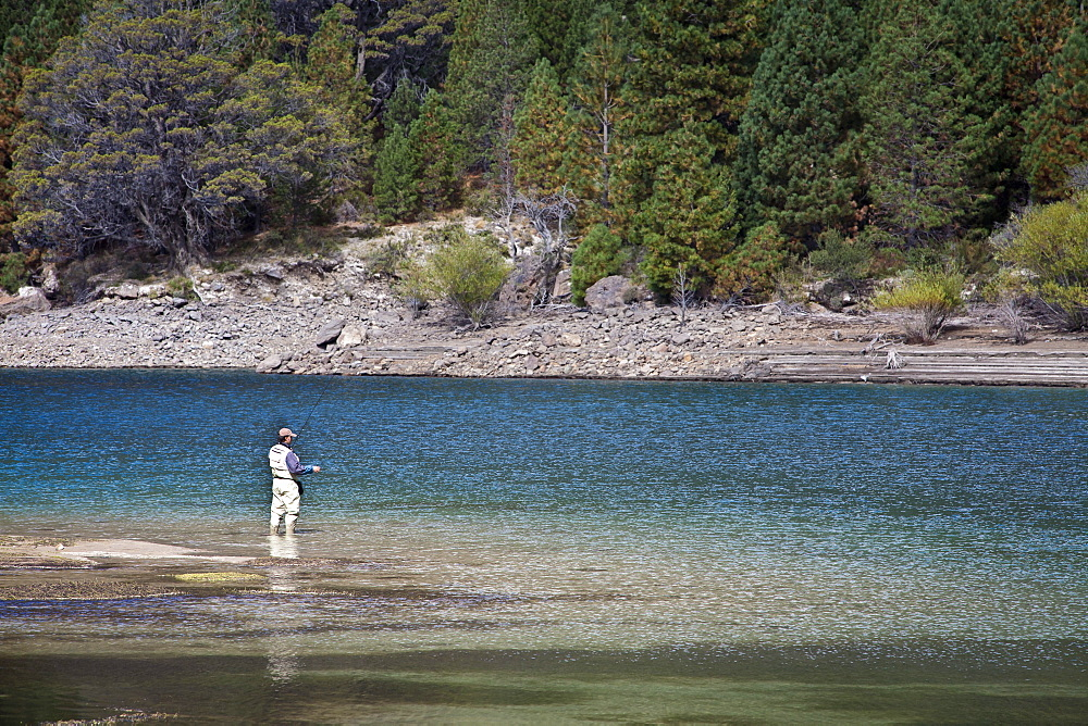 Fly fishing at the Limay River in the lake district, Patagonia, Argentina, South America