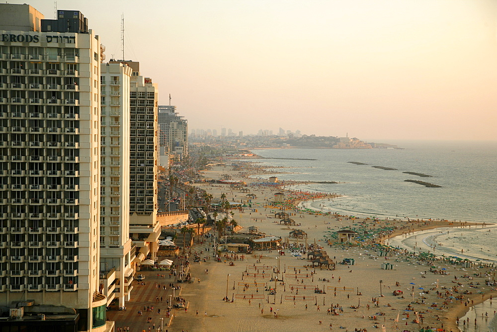 View over the skyline and beaches of Tel Aviv, Israel, Middle East