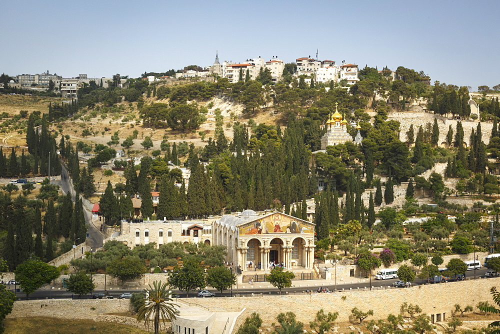 View over the Basilica of the Agony, Gethsemane, and the Maria Magdalena church on Mount of Olives, Jerusalem, Israel, Middle East