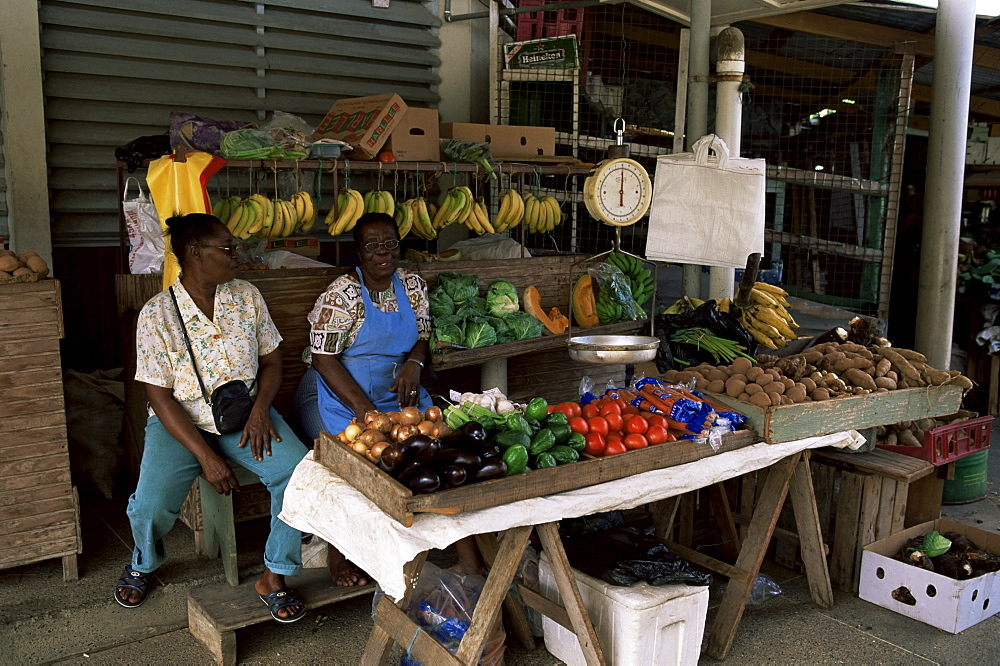 Fruit and vegetable market at Scarborough, Tobago, West Indies, Caribbean, Central America