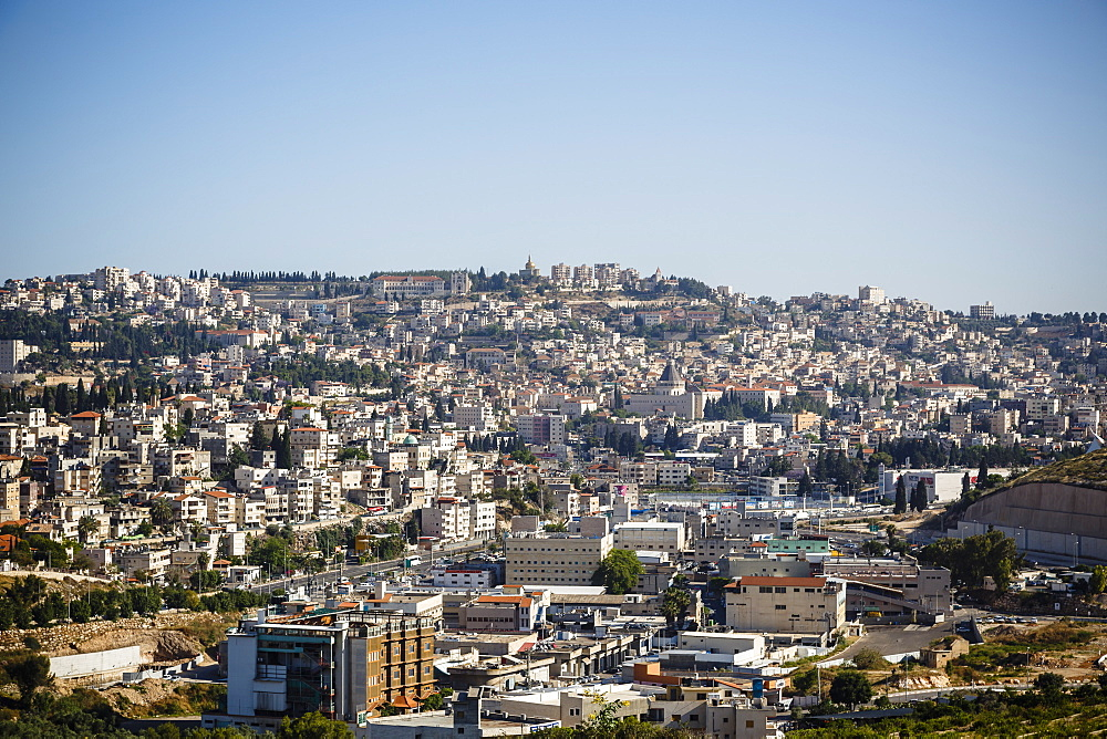 View over Nazareth, Galilee region, Israel, Middle East
