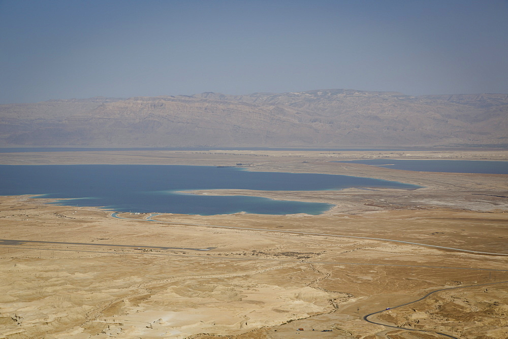 View over the Dead Sea from Masada fortress on the edge of the Judean Desert, Israel, Middle East