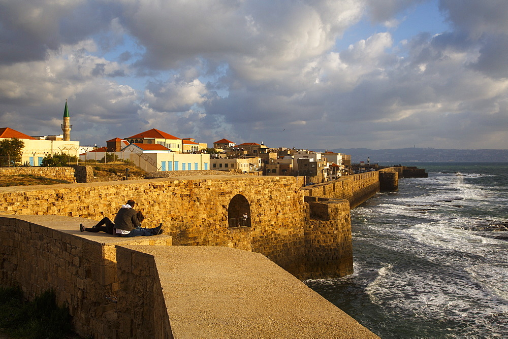 View of the old city walls, Akko (Acre), UNESCO World Heritage Site, Israel, Middle East