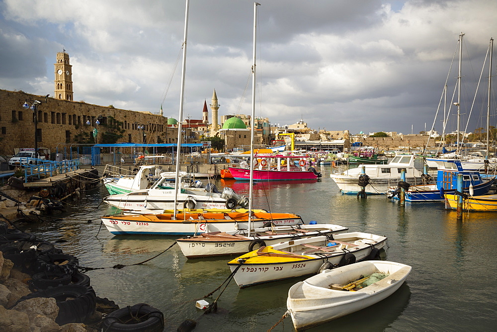 The port at the old city of Akko (Acre), UNESCO World Heritage Site, Israel, Middle East