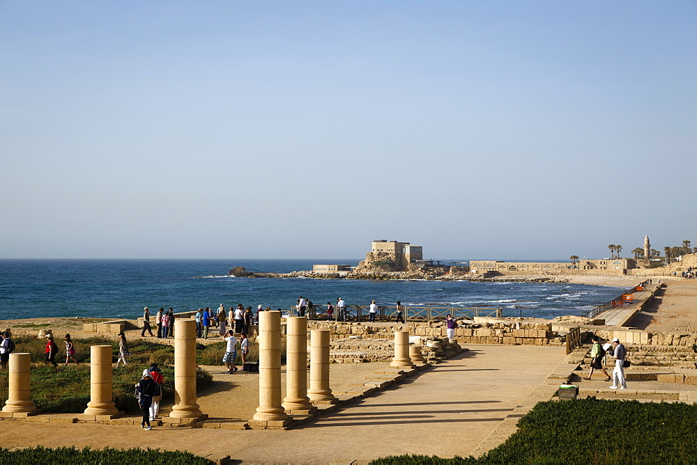 Herods Palace ruins and the hippodrome, Caesarea, Israel, Middle East