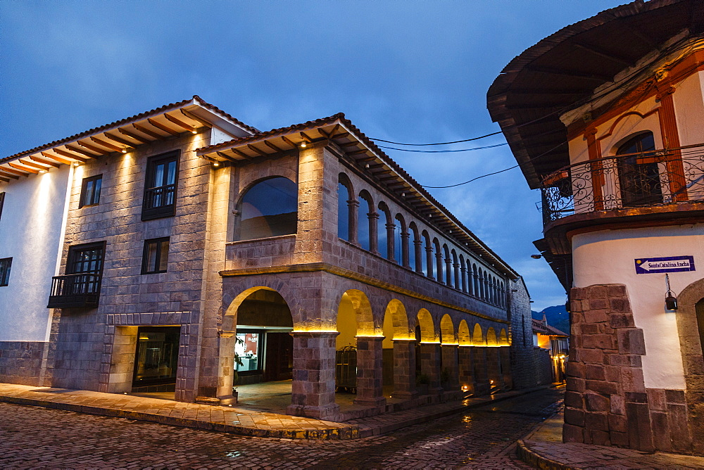 The exterior of the JW Marriott Hotel which is an old restored convent, Cuzco, UNESCO World Heritage Site, Peru, South America