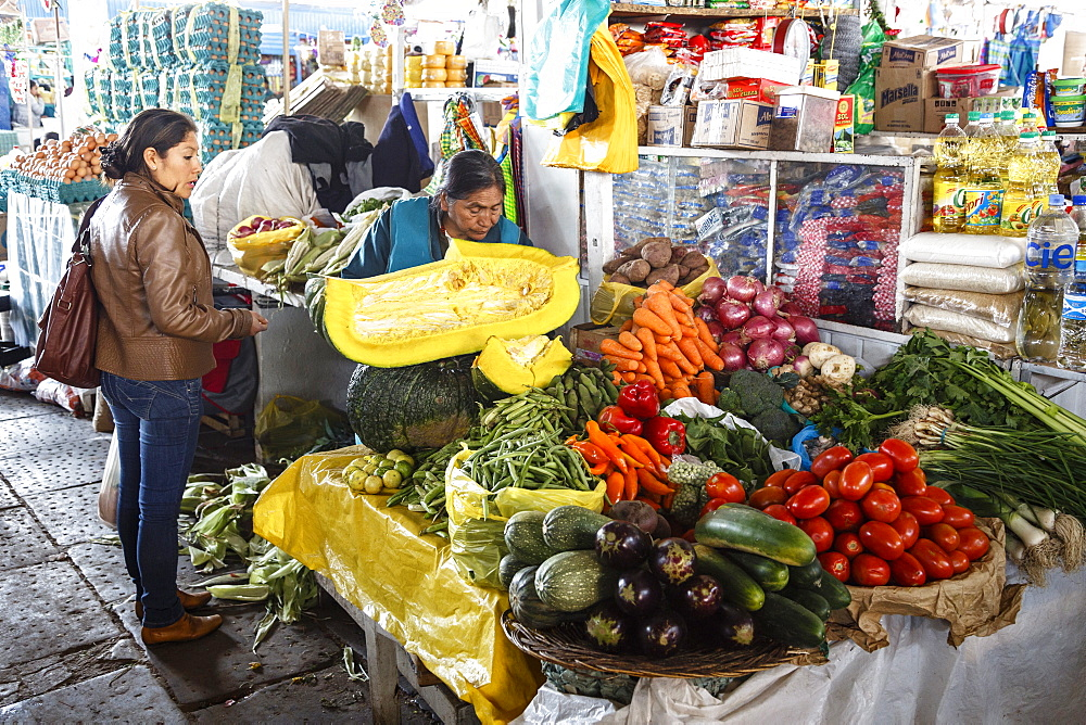 Vegetable stall at San Pedro Market, Cuzco, Peru, South America