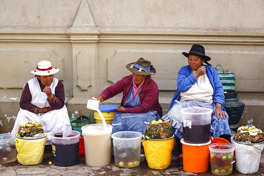 Street food stall at San Pedro Market, Cuzco, Peru, South America