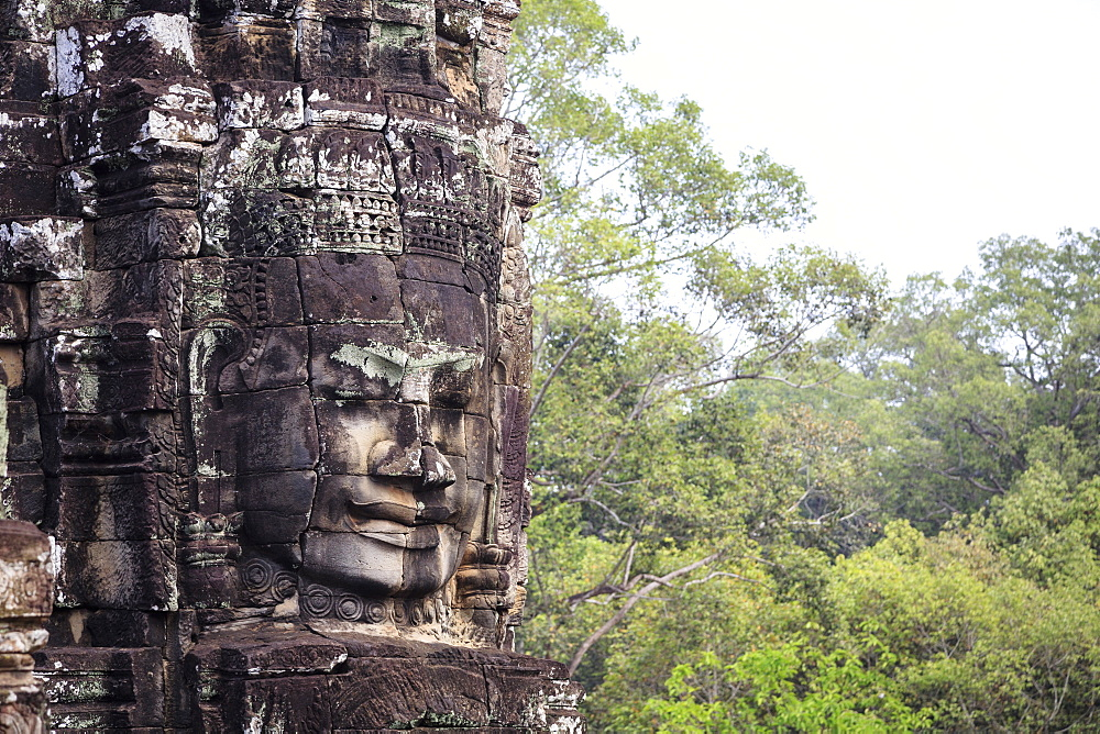 Buddha face carved in stone at the Bayon Temple, Angkor Thom, Angkor, UNESCO World Heritage Site, Cambodia, Indochina, Southeast Asia, Asia