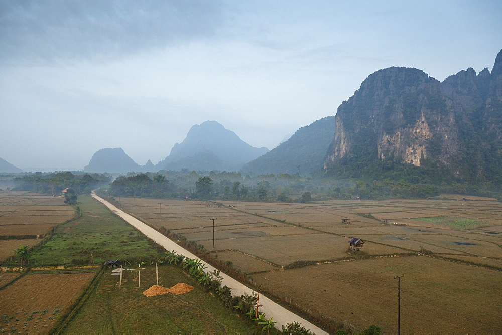 Aerial view of the countryside around Vang Vieng, Laos, Indochina, Southeast Asia, Asia