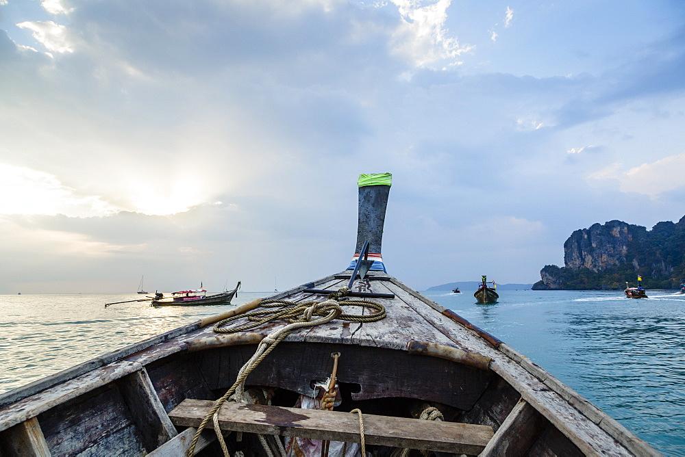 Longtail boat, Railay beach, Krabi, Thailand, Southeast Asia, Asia