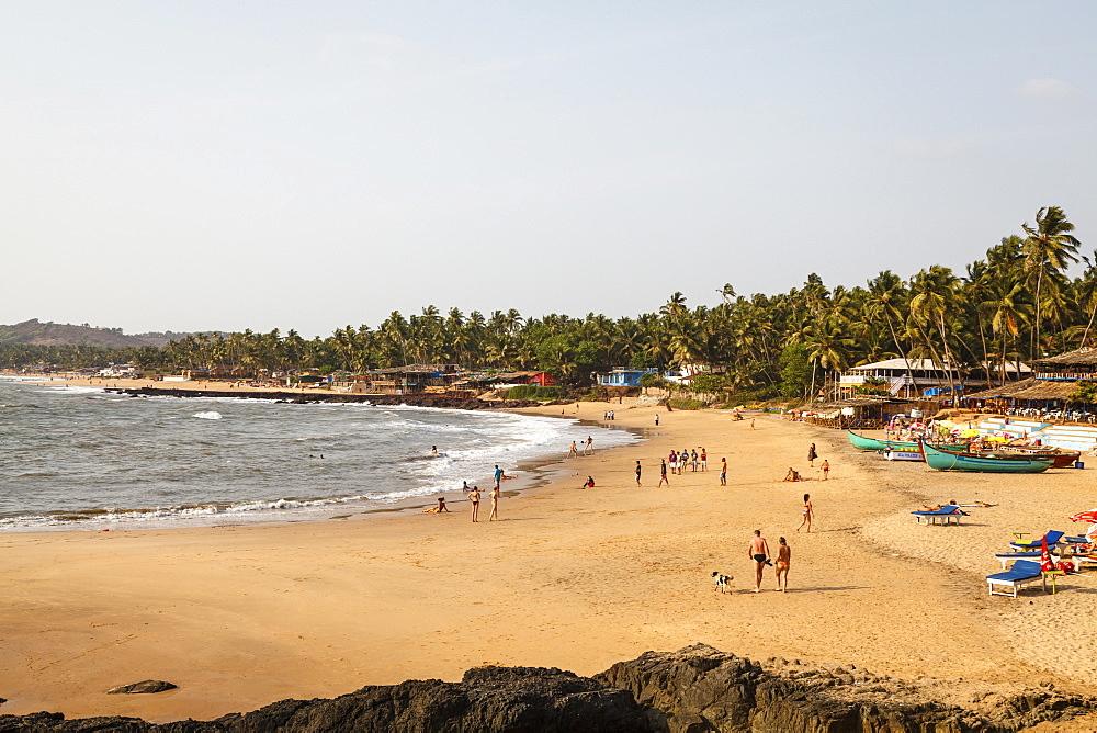 View over South Anjuna Beach, Goa, India, Asia