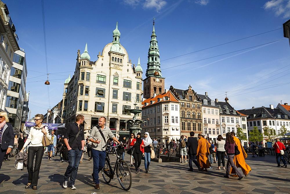 View over Amagertorv at Stroget, the main pedestrian shopping street, Copenhagen, Denmark, Scandinavia, Europe