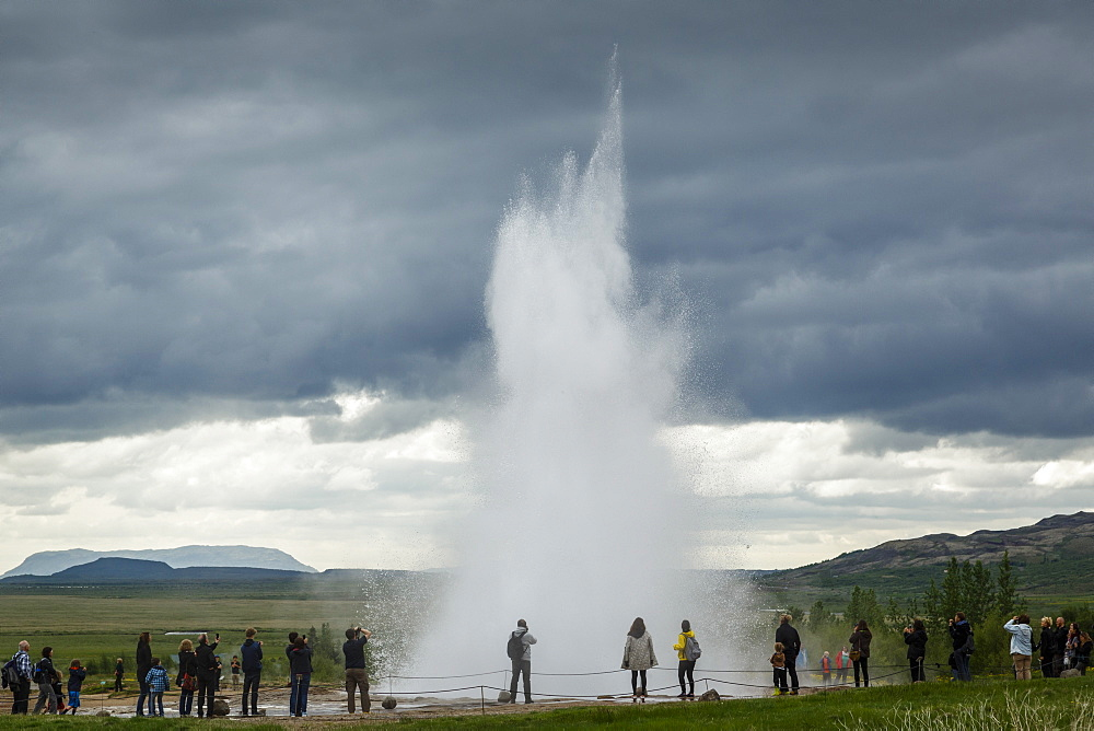 Strokkur geyser, Geysir, Golden Circle, Iceland, Polar Regions