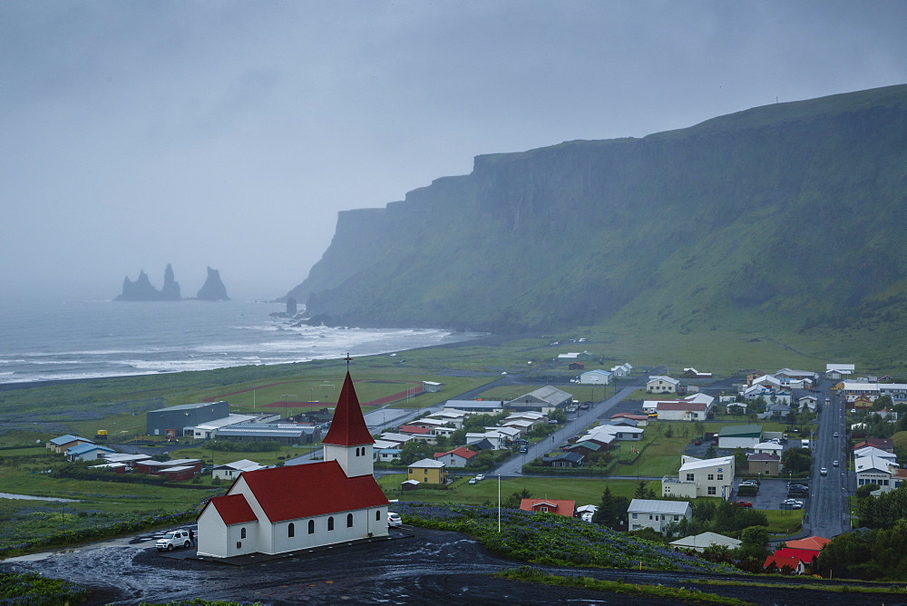 View over the village of Vik on a rainy day, Iceland, Polar Regions