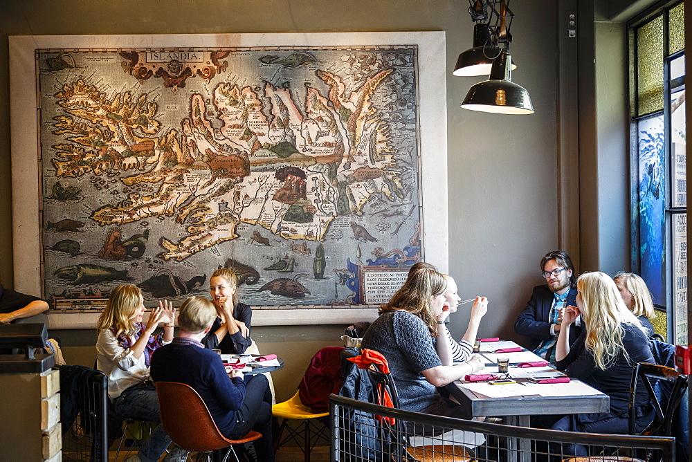 People sitting at Bunk bar and cafe, Reykjavik, Iceland, Polar Regions