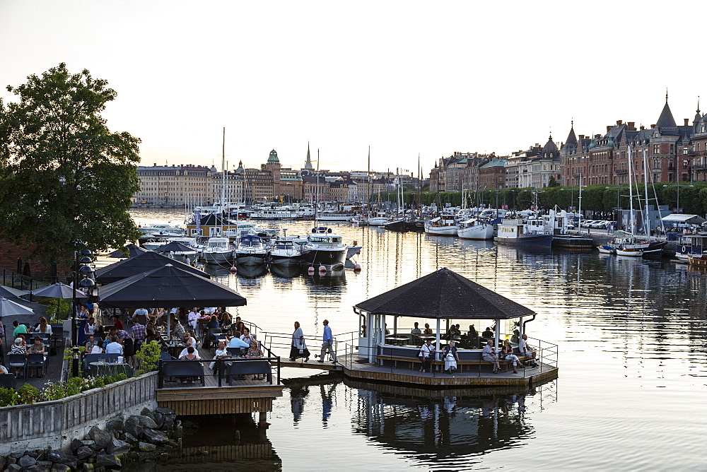 View over the buildings and boats along Strandvagen street, Stockholm, Sweden, Scandinavia, Europe