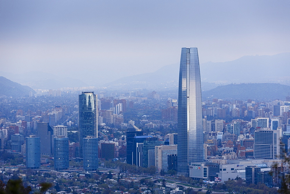 View over the Gran Torre Santiago from Cerro San Cristobal, Santiago, Chile, South America