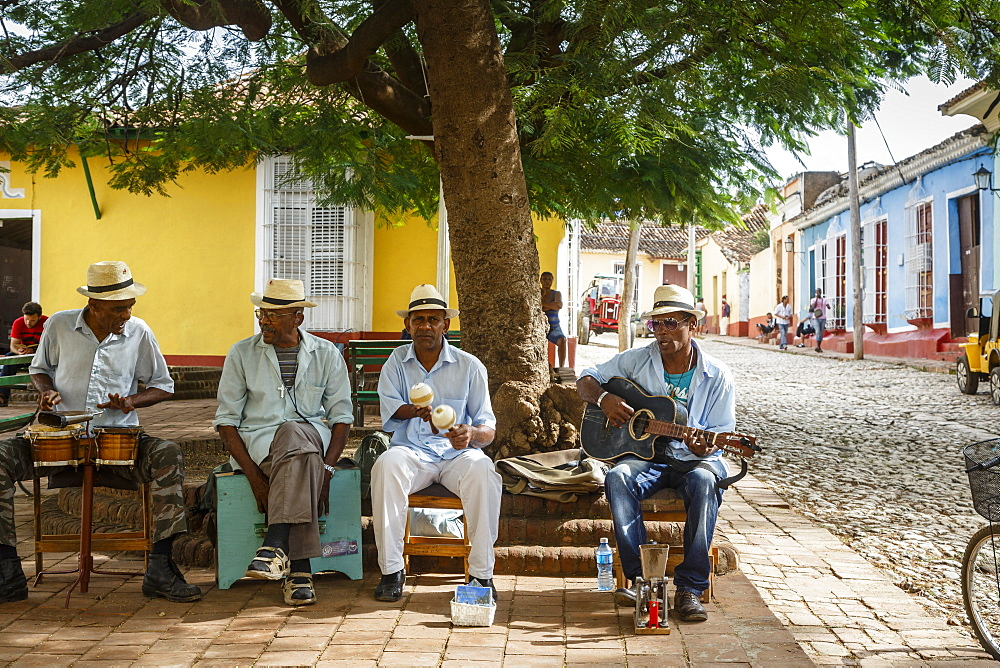 Music band playing at a square in Trinidad, Sancti Spiritus Province, Cuba, West Indies, Caribbean, Central America