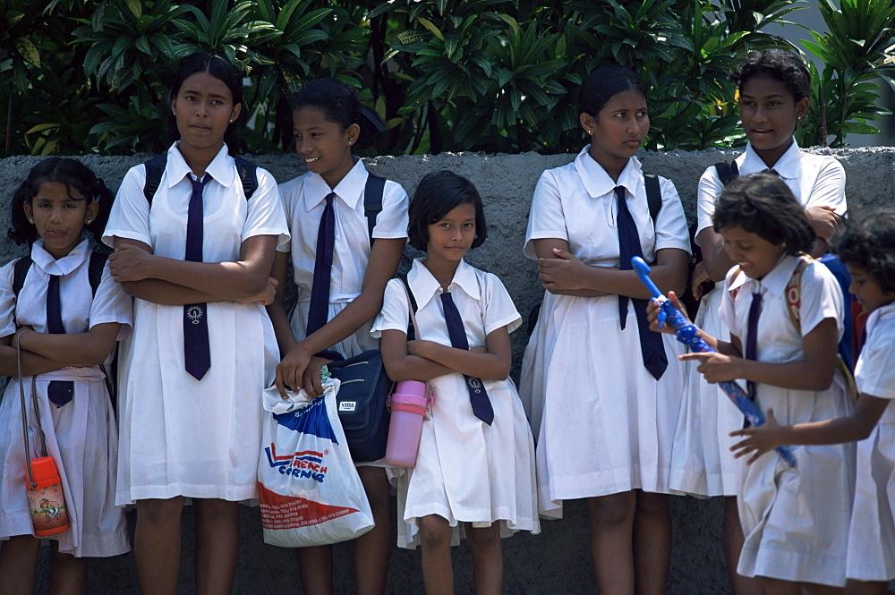 Schoolgirls in school uniform, Colombo, Sri Lanka, Asia