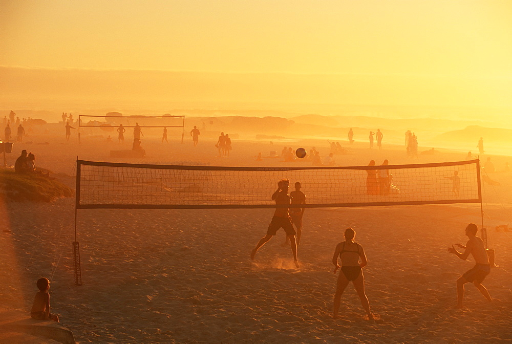 Beach volleyball game, late afternoon, Camps Bay, Cape Town, South Africa, Africa - 749-63