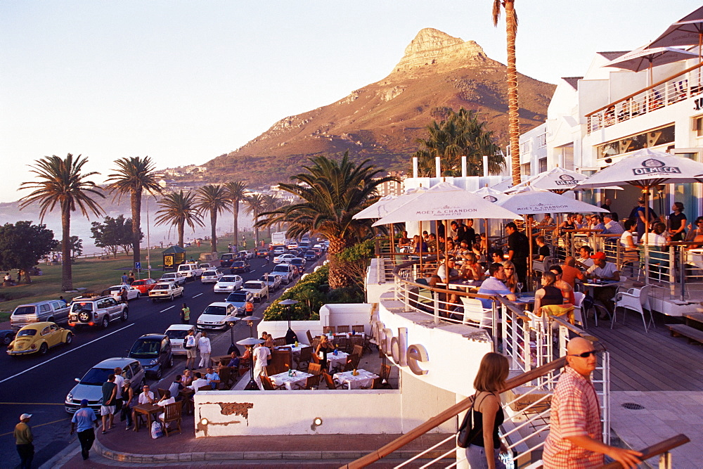 Camps Bay with Lions Head mountain in background, Cape Town, South Africa, Africa - 749-84