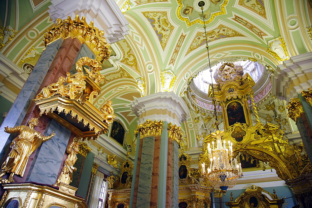 The interior of Cathedral of SS Peter and Paul in the Peter and Paul Fortress. St. Petersburg, Russia, Europe