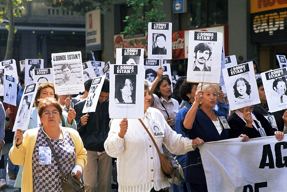 Protest by Mothers of the Missing (Desaparasidos), Chileans who disappeared during Pinochet's dictatorship, Santiago, Chile, South America