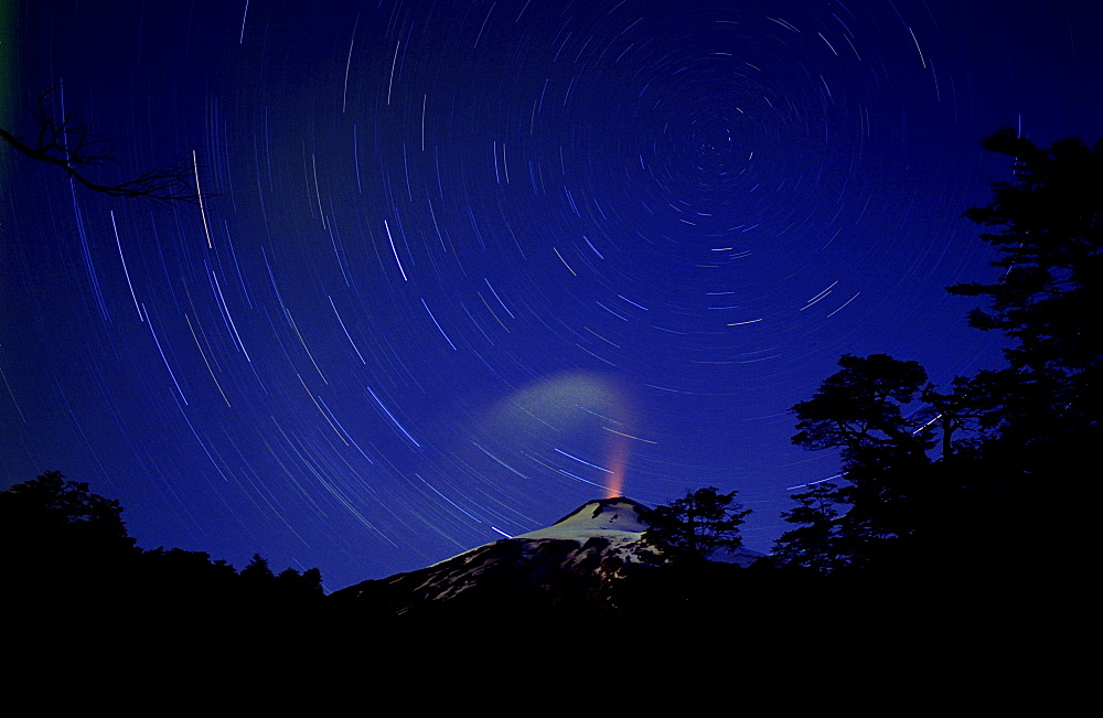 Time exposure of steam and stars, Villarica Volcano, Chile, South America