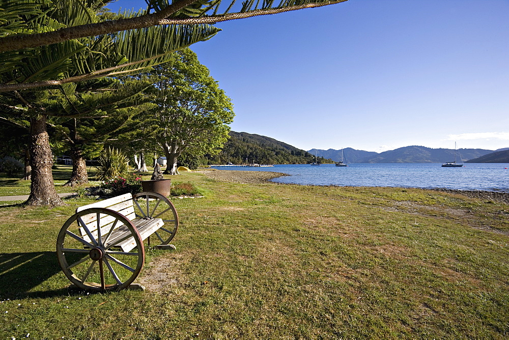 Seat at Furneaux Lodge, Marlborough Sounds, South Island, New Zealand, Pacific