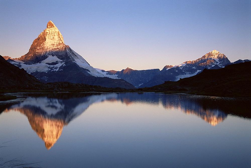 Matterhorn from Riffelsee at dawn, Zermatt, Swiss Alps, Switzerland, Europe - 756-148