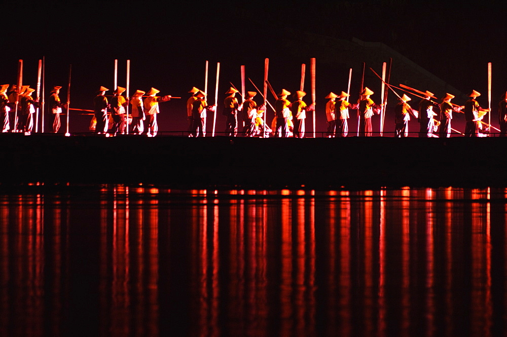 Fishermen, Liu Sanje performance in Yangshuo open air theatre, Yangshuo, Guangxi Province, China, Asia - 756-17