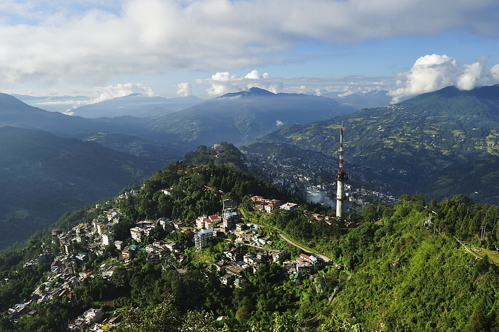 Gangtok seen from Ganesh Tok, East Sikkim, Sikkim, India, Asia