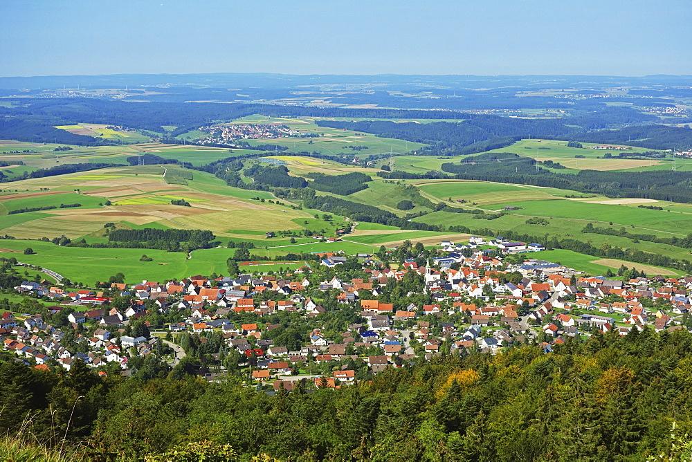View of Denkingen and Baar from Dreifaltigkeitsberg, Baden-Wurttemberg, Germany, Europe