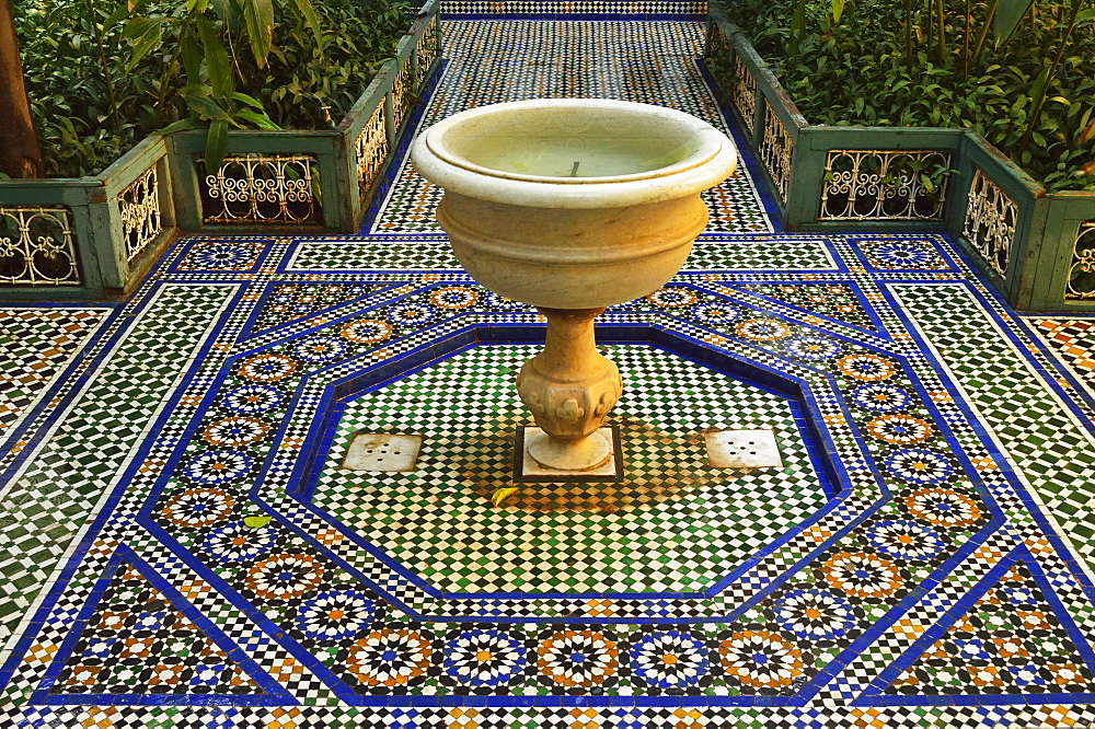 Fountain, Palais de la Bahia, Medina, Marrakesh, Morocco, North Africa, Africa