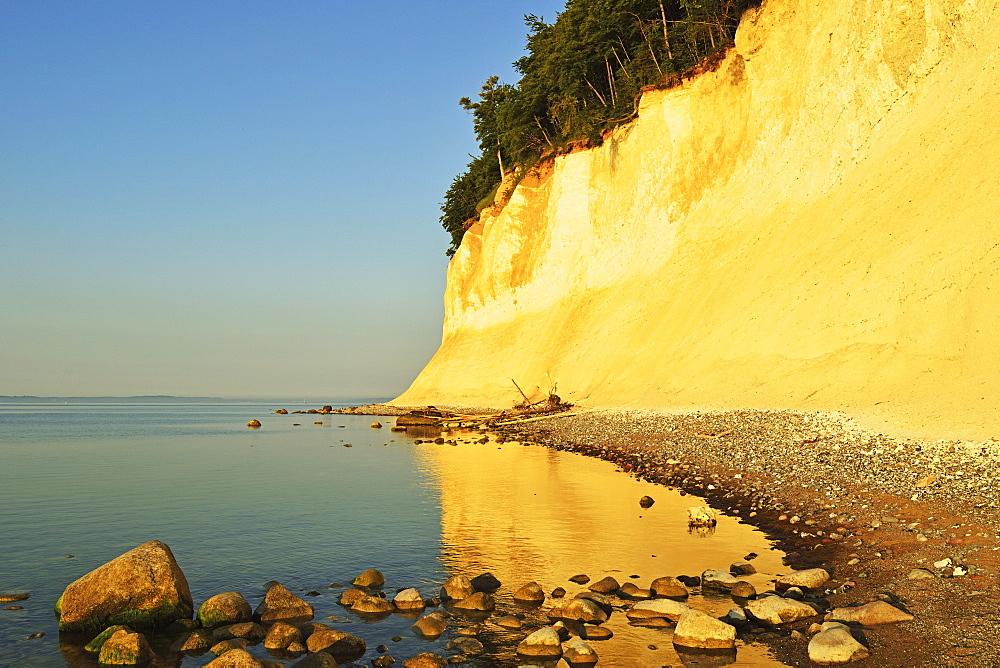 Sunrise at the chalk cliffs, Jasmund National Park, Ruegen Island (Rugen Island), Mecklenburg-Vorpommern, Germany, Baltic Sea, Europe