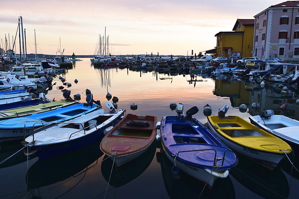 Boats in Piran harbour, Gulf of Piran, Adriatic Sea, Slovenia, Europe