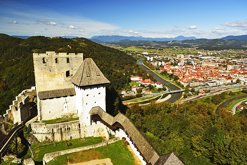 View of Celje Castle and Celje, Slovenia, Europe